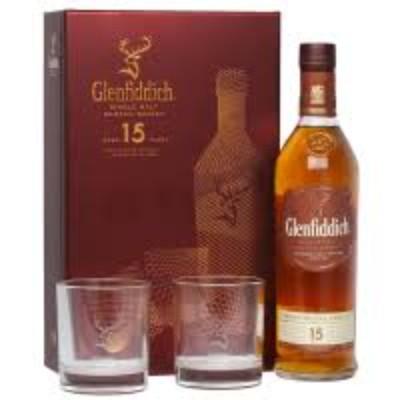 Уиски Glenfiddich малц 15г.  + ПОДАРЪК (2 чаши)