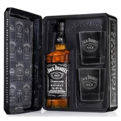 Уиски Jack Daniel's №7 в метална кутия + Подарък 2 чаши