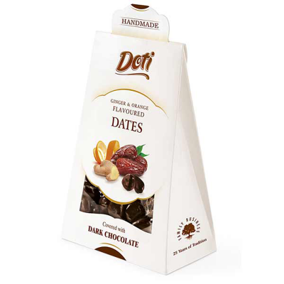 Бонбони DOTI фурми, джинджифил и портокалови корички в черен шоколад