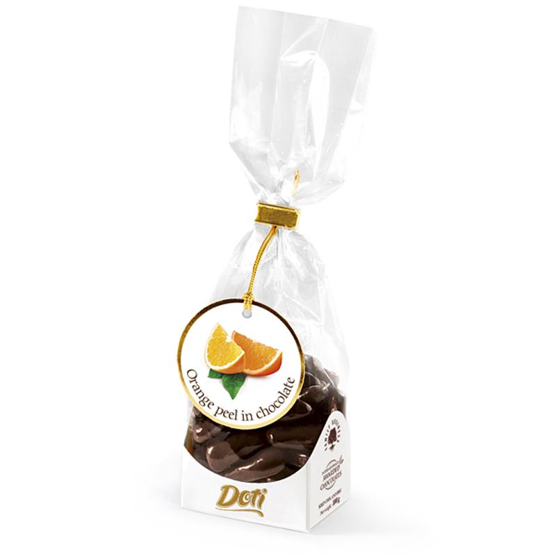 Бонбони Doti портокалови корички в черен шоколад