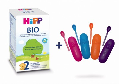 Адаптирано мляко HiPP BIO 2 + подарък кутия с лъжичка