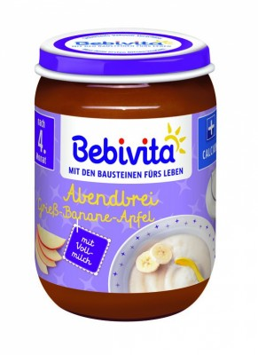 "Млечна каша ""Лека нощ"" Bebivita грис, банан, ябълка"