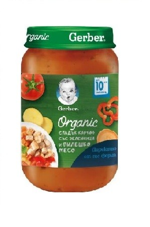 Пюре Gerber Сладкък Картоф, Зелeнчуци, Пиле Organic