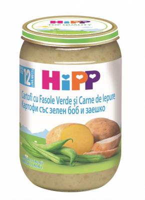 Пюре HiPP картофи със зелен боб и заешко