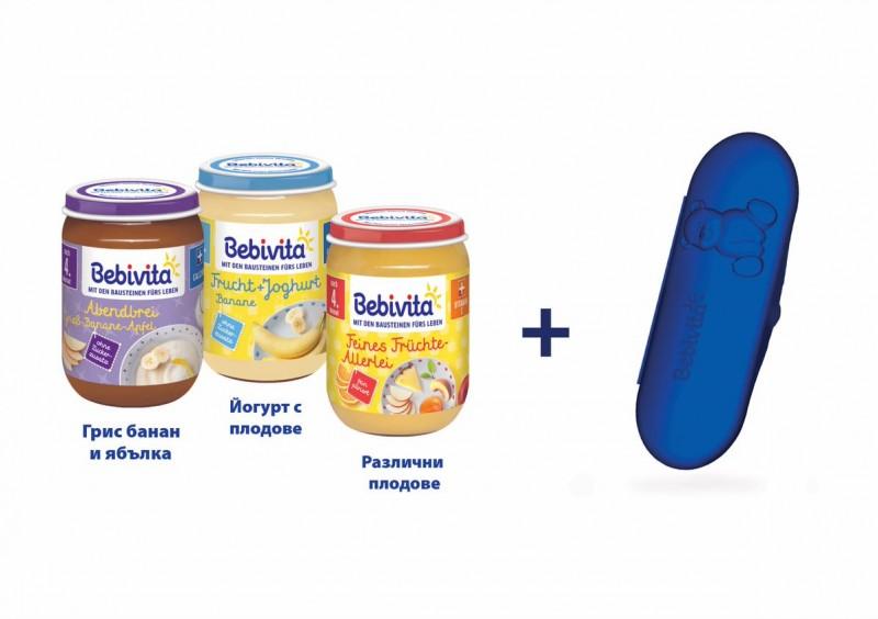 Пюре Bebivita 3 броя + подарък кутия с лъжичка
