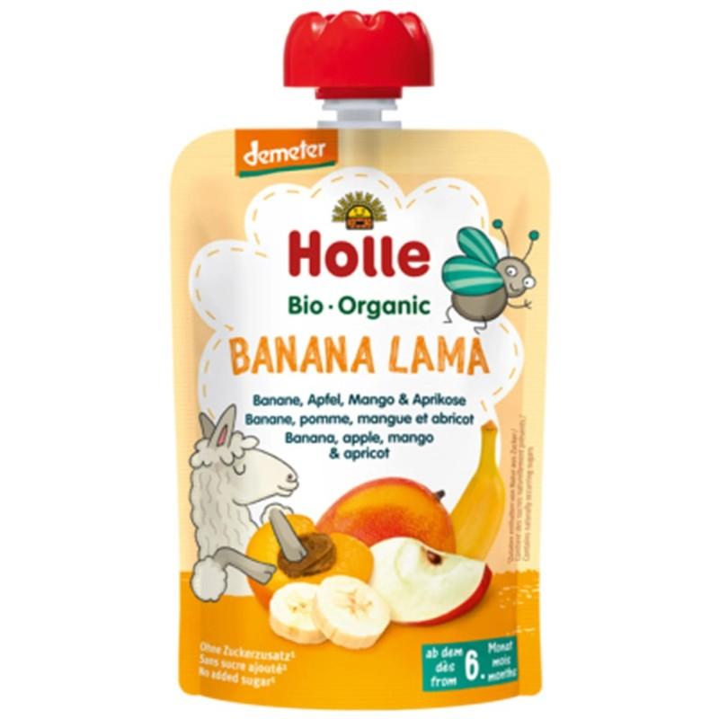 БИО Пюре Holle банан, ябълка, манго, кайсия