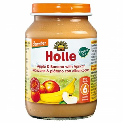 БИО Пюре Holle ябълка, банан, кайсия