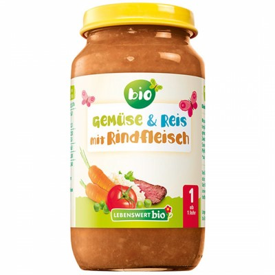 БИО Пюре Lebenswert bio ориз, говеждо месо