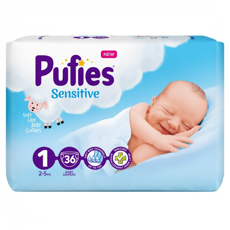 Бебешки Пелени Pufies Sensitive Новородени (1) 2-5 кг