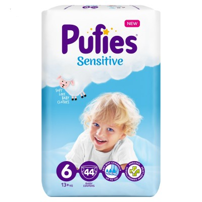 Бебешки Пелени Pufies Sensitive Extra Large (6) 13+кг