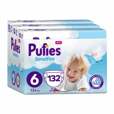 Бебешки Пелени Pufies Sensitive Extra Large (6) 13+ кг