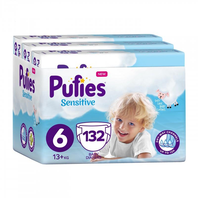 Бебешки Пелени Pufies Sensitive Extra Large (6) 13+ кг