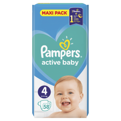 Бебешки пелени Pampers Active Baby MAXI pack S4 Maxi 9-14 кг