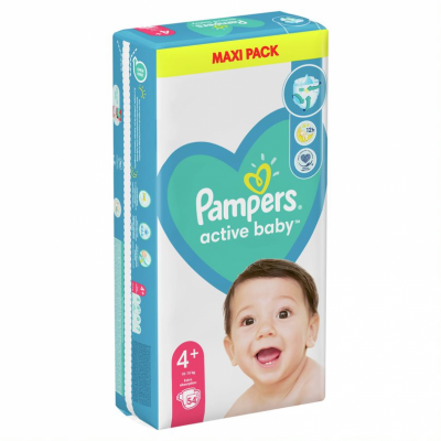 Бебешки пелени Pampers Active Baby MAXI pack S4+ Maxi+ 10-15 кг