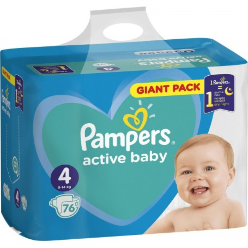 Бебешки пелени Pampers Active Baby Giant pack S4 9-14 кг