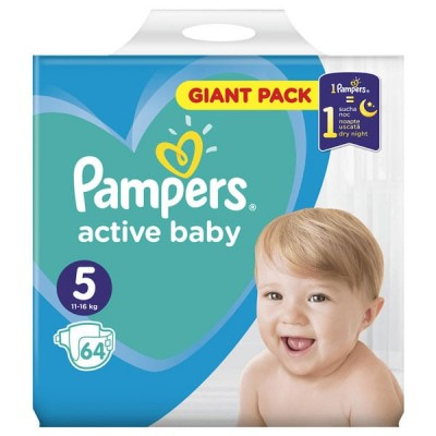 Бебешки пелени Pampers Active Baby Giant pack S5 11-16 кг