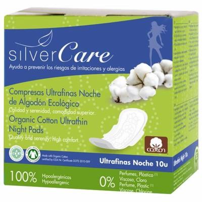 Органични нощни дамски превръзки Silver Care с крилца