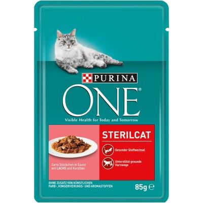 Purina One Sterilcat за кастрирани котки със Сьомга и Морков
