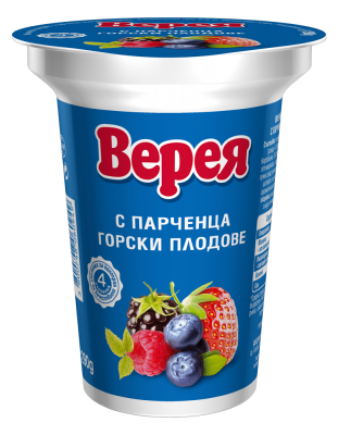 Млечно-кисел десерт Верея с парченца Горски плод