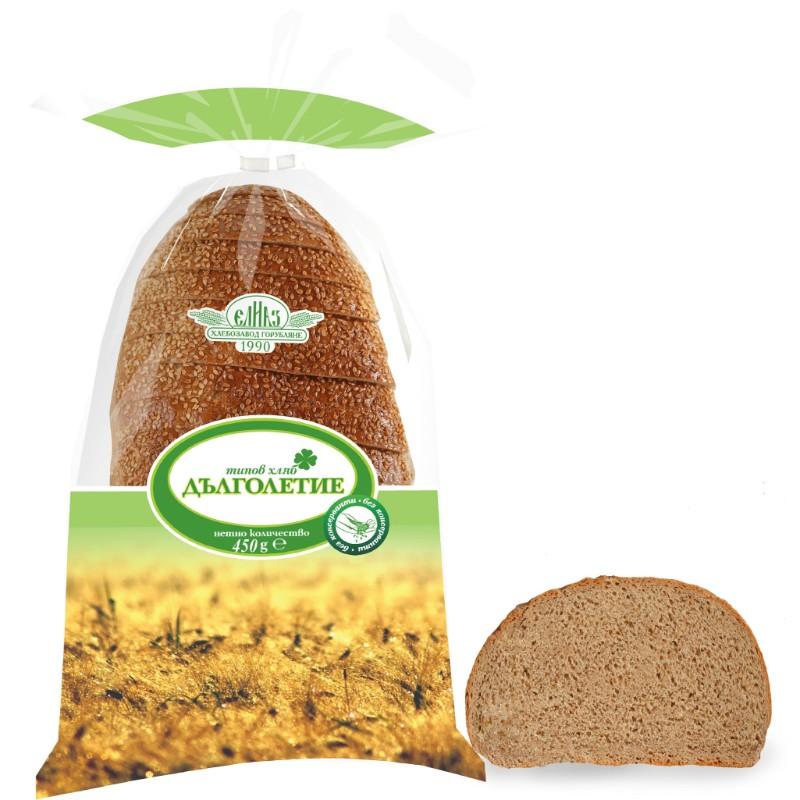 Типов хляб Дълголетие, нарязан