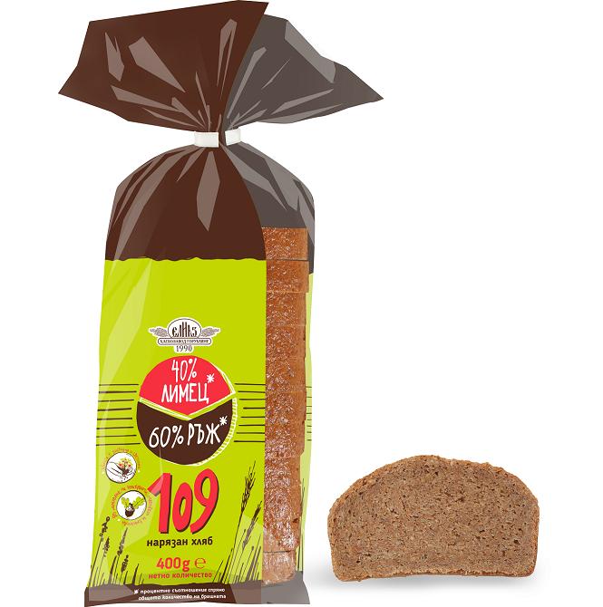 Хляб 109 зърна Елиаз лимец и ръж нарязан