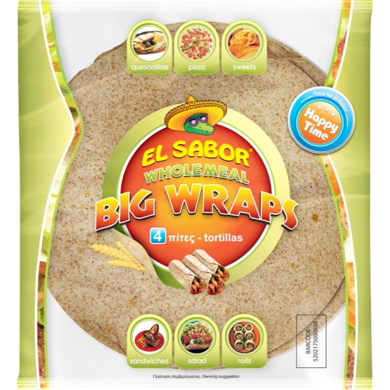 Пълнозърнеста тортила El Sabor 25 см