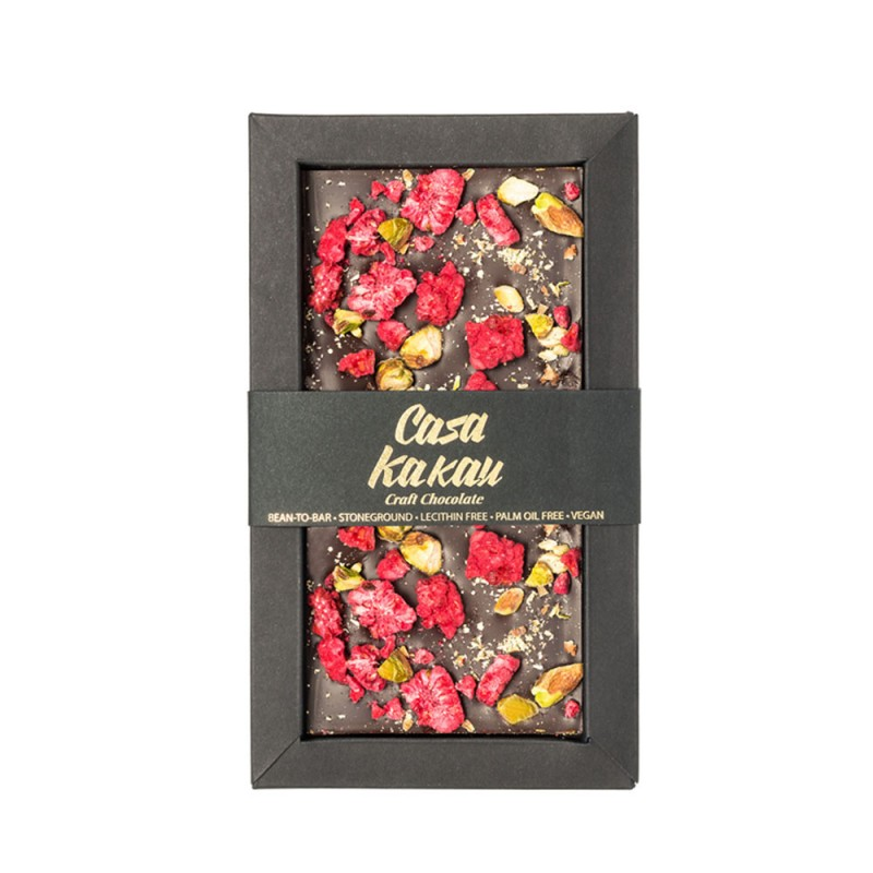 Занаятчийски, ръчен шоколад Casa Kakau шамфъстък и малини