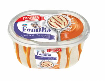 Сладолед Familia ванилия и карамелов сироп