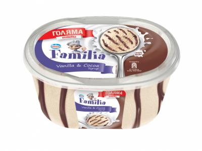 Сладолед Familia ванилия и какаов сироп