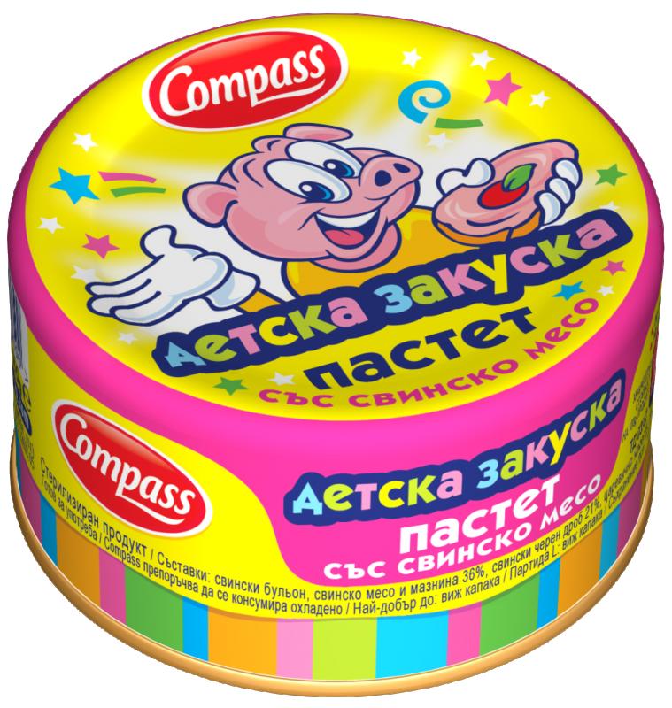 Пастет Детска закуска Compass със свинско месо