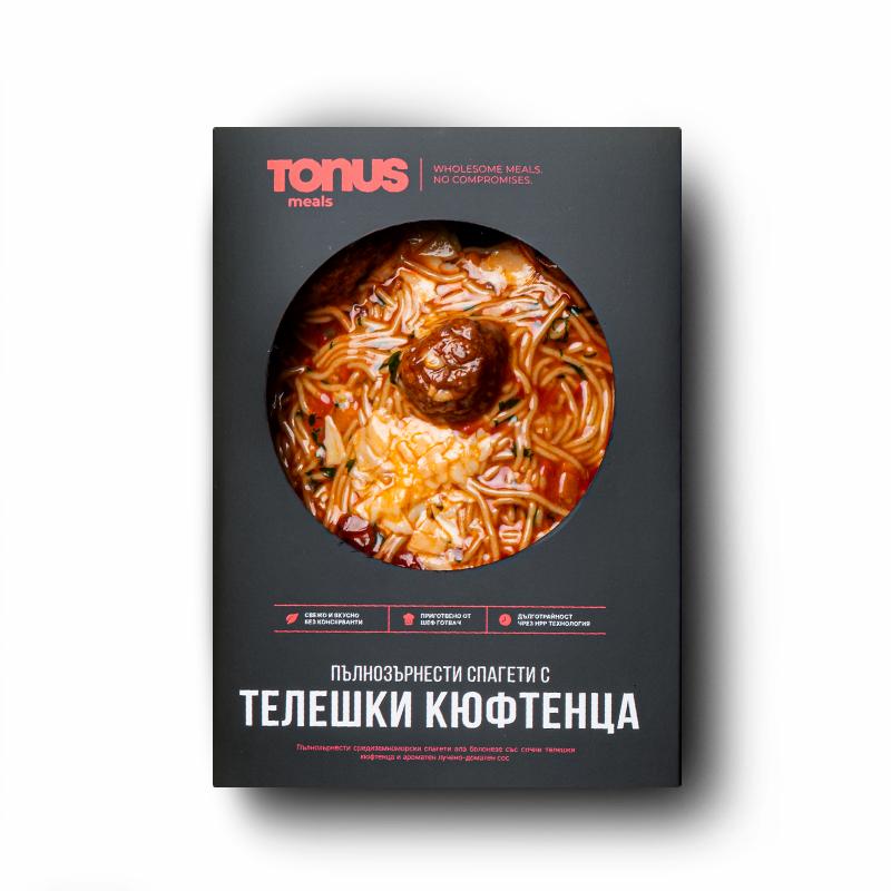Пълнозърнести спагети Tonus Meals с телешки кюфтенца