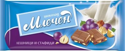 Шоколад Млечен Лешници и Стафиди
