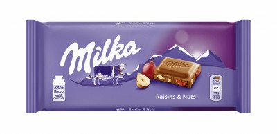 Шоколад Milka лешници и стафиди