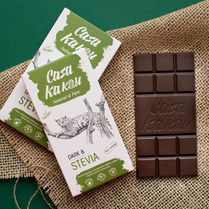 Занаятчийски, ръчен шоколад Casa Kakau стевия