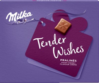 Шоколадови бонбони Milka Tender Wishes с крем с вкус на вишна