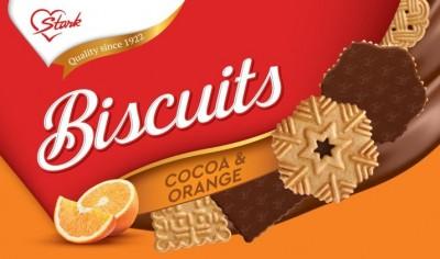 Бисквити Stark с шоколадово покритие и вкус на портокал