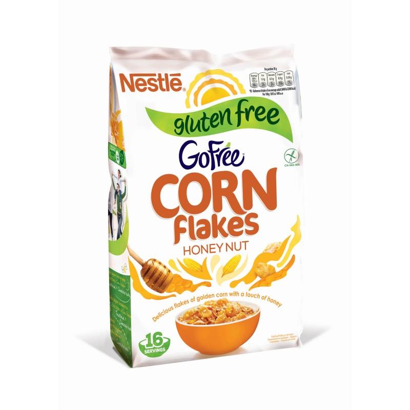 Зърнена закуска Nestle Corn Flakes без глутен мед и фъстъци