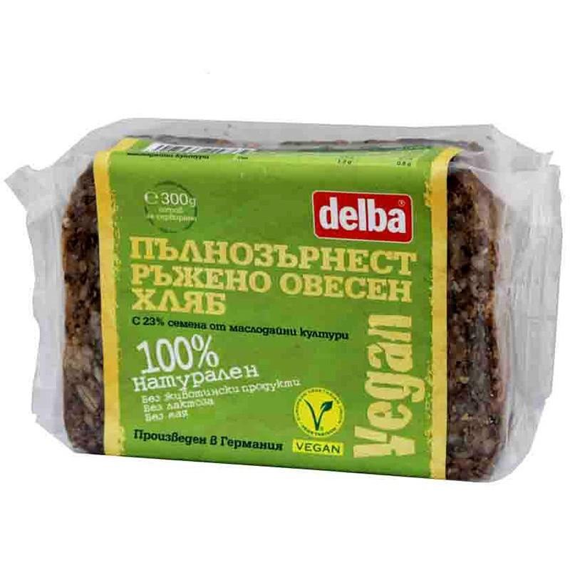 ВЕГАН Пълнозърнест хляб Delba ръжено-овесен