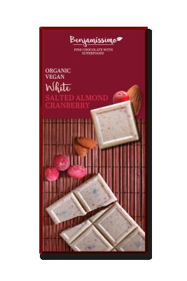 БИО Бял шоколад Benjamissimo солен бадем и червена боровинка