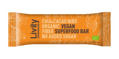 Бар със суперхрани Био Livity Чиа и Какаови зърна