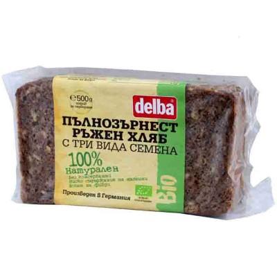 БИО Пълнозърнест ръжен хляб Delba с 3 вида семена