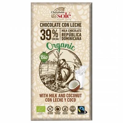 БИО Млечен шоколад Sole с кокос