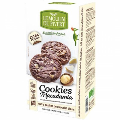 БИО Бисквити LE MOULIN DU PIVERT с макадамия и бял шоколад