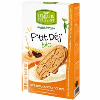 БИО Зърнени бисквити LE MOULIN DU PIVERT с мед и шоколад